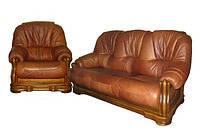 """Кожаный диван в комплекте с креслом """"Граф 4090"""""""