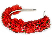 Обруч на голову с цветами Розы красные