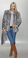 Женская шубка из искусственного меха Серо - голубой леопард (в розницу +150грн)