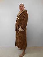 Мужской махровый халат с двойным капюшоном коричневый+беж. пушистая махра