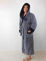 Батальный мужской махровый халат с двойным капюшоном серый+т.синий пушистая махра