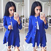 Костюм пиджак и расклешенная юбка мини трикотаж разные цвета Kl09