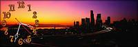Ночной город - 9 часы настенные 30*90 см фотопечать