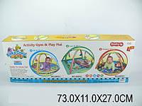 Детский коврик с погремушками на дуге, батар., музыка, в кор. 73х11х27 /12-2/