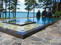 Construction swimming pool Строительство переливного бассейна.