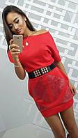 Платье с поясом на заклепках
