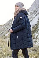 Зимнее пальто Аризона с мехом енота, разные цвета р 42-50