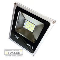 Светодиодный LED прожектор СП-30Вт SLIM SMD IP65 с многокристальной матрицей 2400Lm теплый белый (3000К)