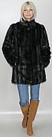 Шубка женская ниже бедра из искусственного меха, Черная норка (в розницу +150грн)