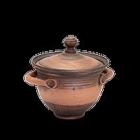 Горшок глиняный (макитра) с ручками и крышкой Этно EA06 Покутская керамика