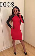 Платье с разрезами на плечах и змейкой сзади красное