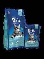 Новый Брит Премиум Сенситив 300гр - сухой корм  для  кошек c чувствительным пищеварением