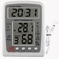 Термометр TS KT 203 с выносным датчиком, часами и календарем     .  dr
