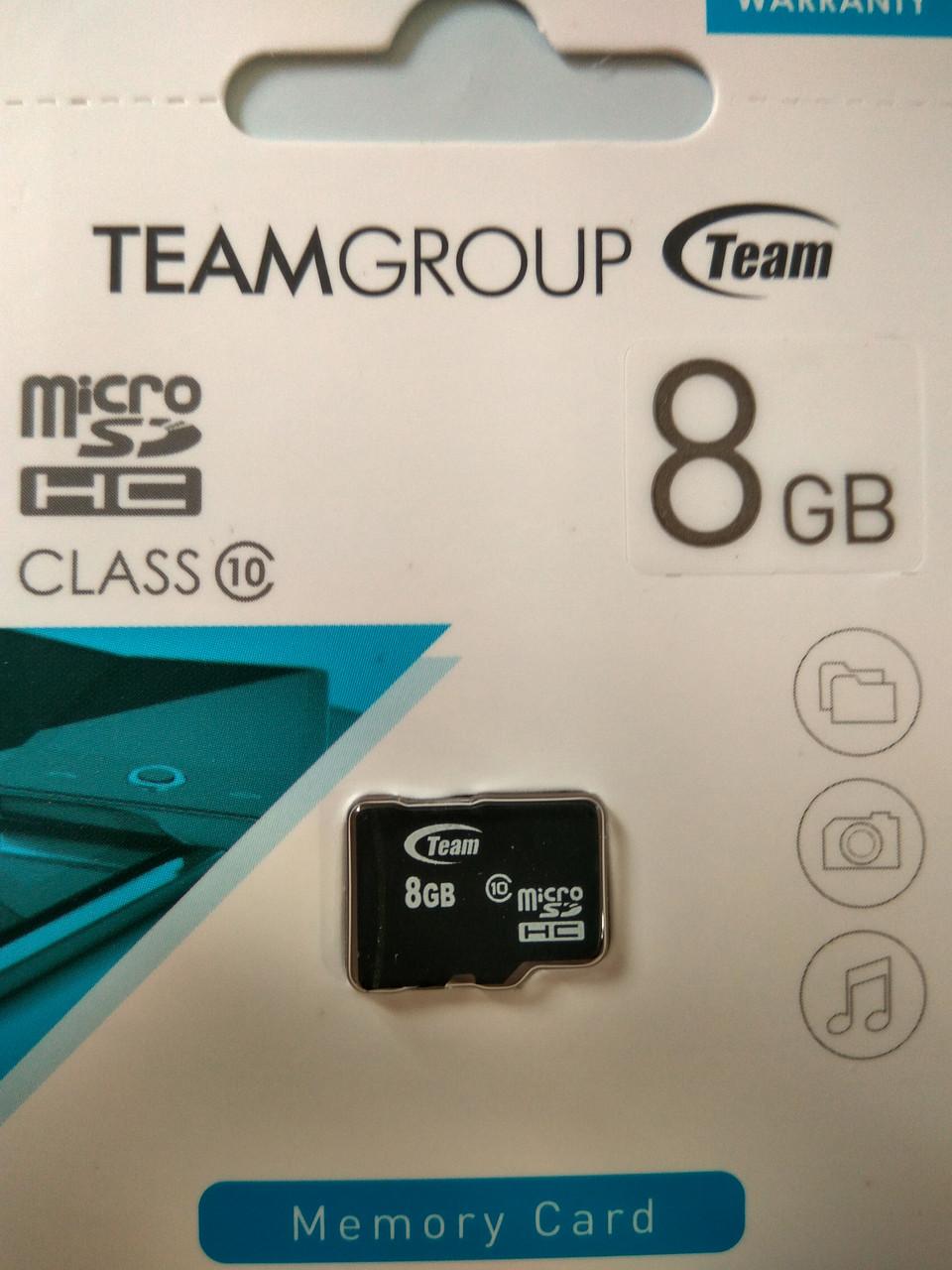 Карта памяти микро SDHC Team 8 гб класс 10 без адаптера