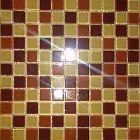 Мозаика для ванны стекло коричневое Vivacer MixC06