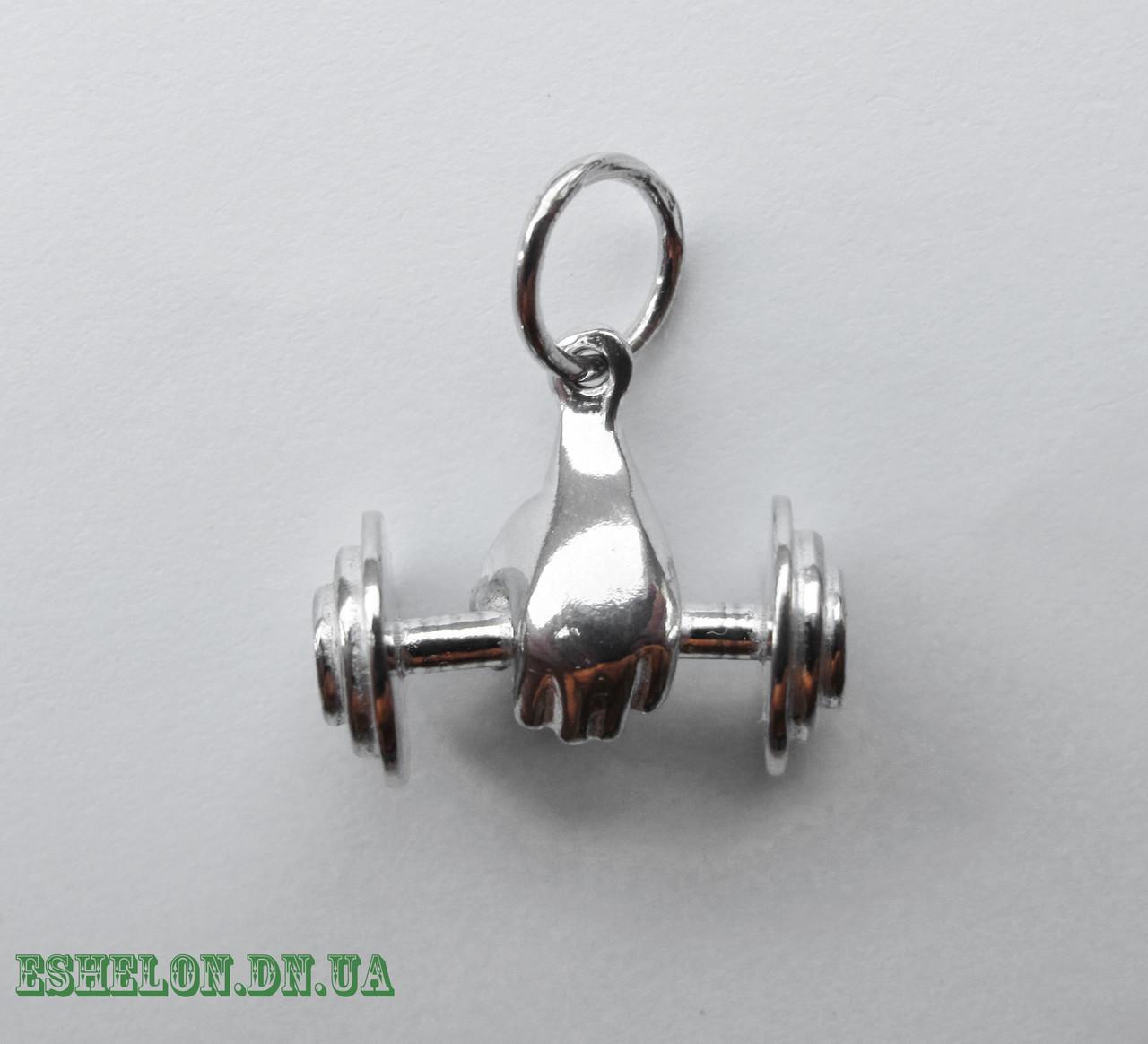 Подвеска серебряная Штанга Бодибилдер малая