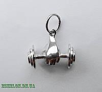 Подвеска серебряная Штанга Бодибилдер малая, фото 1