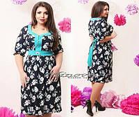 Модное нарядное летнее платье в расцветках большого размера