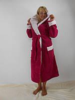 Батальный длинный махровый халат с двойным капюшоном