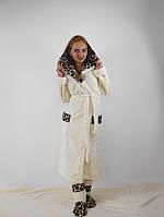 Длинный махровый халат с сапожками в комплекте(молочный +леопард)