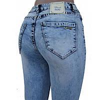 Джинсы женские узкие Американка, голубые, вываренные, рваные