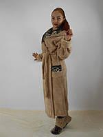 Длинный махровый халат с сапожками в комплекте(бежевый +леопард)