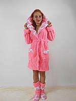 Розовый махровый халат с капюшоном  в комплекте с сапожками