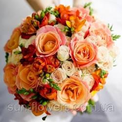 Весільний букет різних відтінків оранжевого кольору