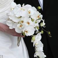 Свадебный каскадный  букет с орхидеями
