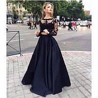 Костюм - платье хлопковая юбка и топ в бисере гипюр