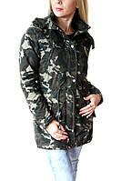 Демисезонная женская куртка парка в военном стиле