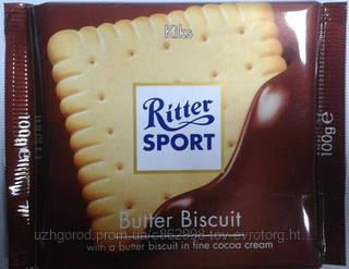 Шоколад RITTER SPORT молочный c бисквитным печеньем 100 г.
