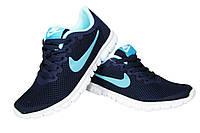 Женские кроссовки Nike Free Run 3.0, сетка, синие, Р. 36