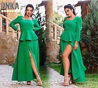 Зеленое длинное платье с разрезом и баской, больших размеров. Арт-1927/9
