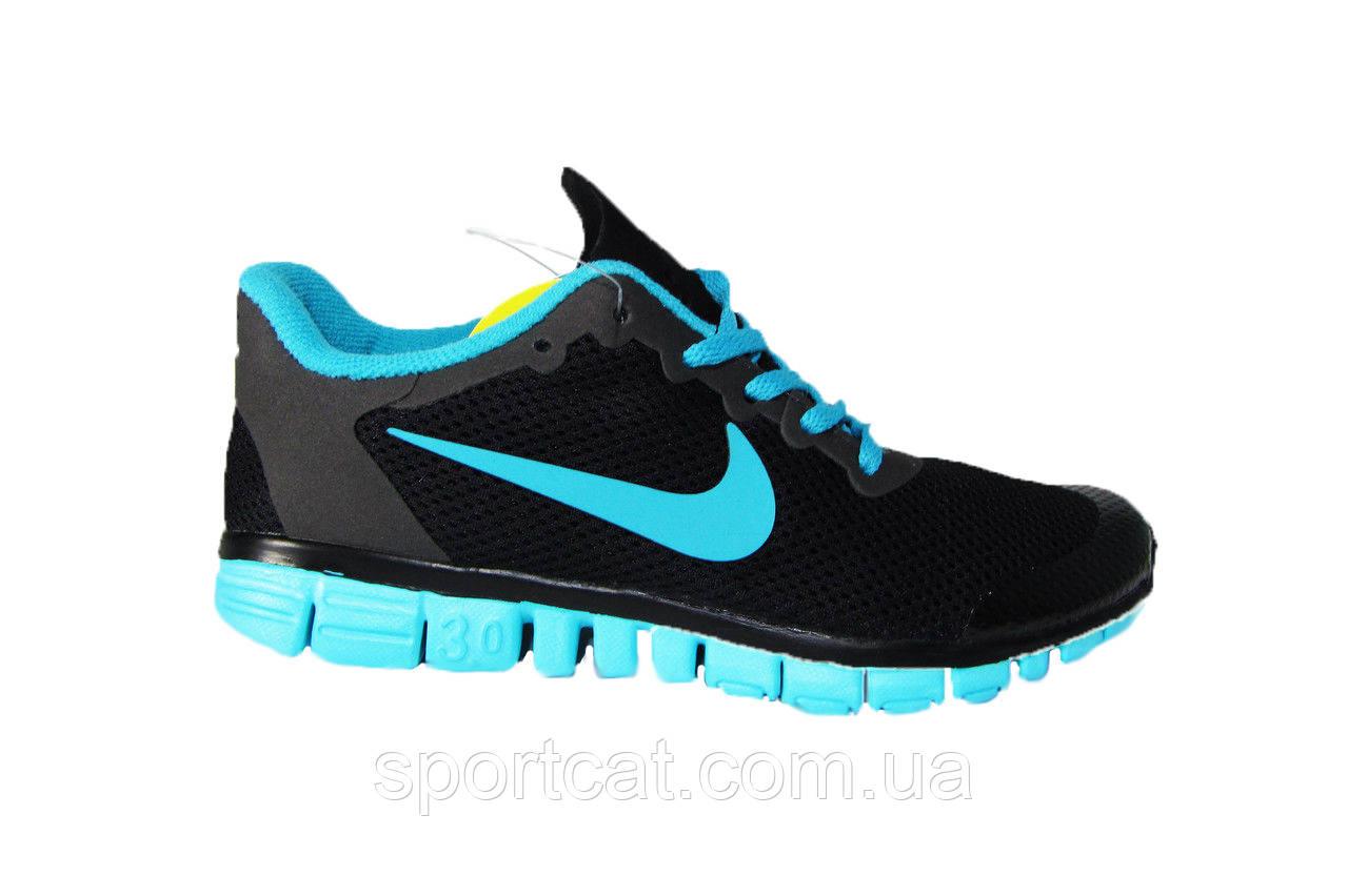 Женские кроссовки Nike Free Run 3.0, сетка, черные с бирюзовым Р. 38 39 40