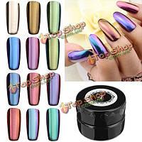 12 цветов волшебное зеркало хром эффект металлический порошок комплект искусства ногтя добавка пигмента серебро