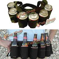 Открытый шесть пакетов пива ремень бутылка поясная сумка портативный держатель напитков пить банки сбор кемпинга