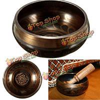 Чаша тибетская латунь буддийского перезвон бронза акустический резонанс медитация благополучия Yoga 95мм