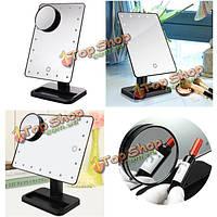 180° поворотный LED макияж зеркало 10 x увеличение ванной присоски широкий вид инструментов настольная лампа