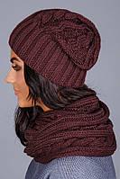 Стильный женский комплект из шапки и шарфа-петли