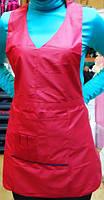 """Фартук парикмахерский двухсторонний с логотипом """"ДенІС professional"""" красный / чёрный"""