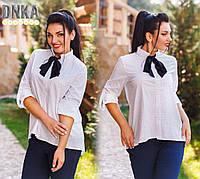 Белая женская рубашка в горошек, с галстуком. Арт-1940/9