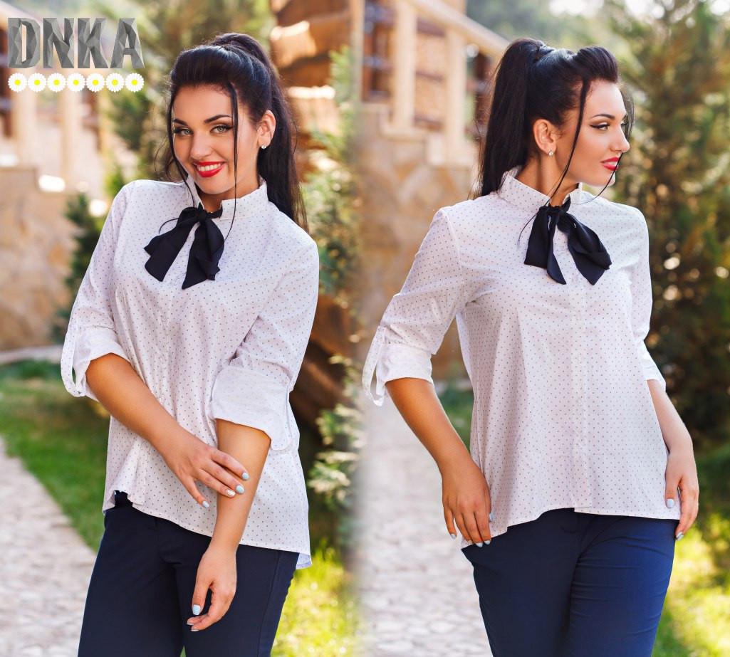 9f372b534d5 Белая женская рубашка в горошек