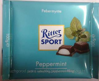 """Шоколад молочный """"Ritter Sport"""" peppermint  100 г."""