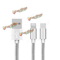 Нейлон плетеный провод 1м 3.3ft 8pin и Micro-USB двойной бортовой кабель для iPhone iPad Samsumg Huawei Moto