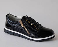Туфли для девочек Clibee арт.P82 черн.носок лак (Размеры:31-36)