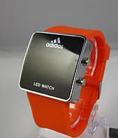 Спортивные часы Adidas LED WATCH, Адидас Лед оранжевые ( код: IBW003J )