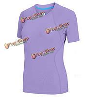 Aonijie женщин спортивный велосипед короткий рукав FAST сухой тенниски дышащий бег затекания одежды Самме