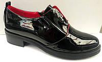 Туфли женские закрытые на толстом каблуке лаковая экокожа Uk0313