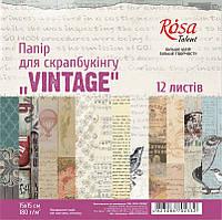 """Наборы бумаги для скрапбукинга, """"VINTAGE"""" 12л 15х15см, ROSA Talent (5312001)"""